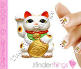 Good Luck Cat Maneki-Neko Nail Art Decal Sticker Set - The FinderThings