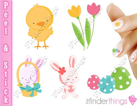 Easter Eggs and Baby Bunny Nail Art Decal Sticker Set - The FinderThings