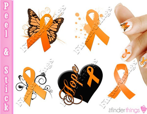 Multiple Sclerosis MS Awareness Ribbon Mix Nail Art Decal Sticker Set