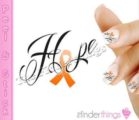 Multiple Sclerosis MS Awareness Ribbon Hope Nail Art Decal Sticker Set