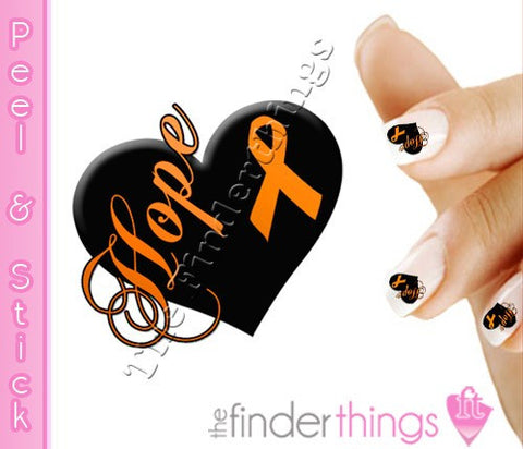 Multiple Sclerosis MS Awareness Ribbon Heart Nail Art Decal Sticker Set - The FinderThings