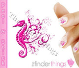 Pink Seahorse Designer Nail Art Decal Sticker Set - The FinderThings