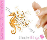 Yellow Seahorse Designer Nail Art Decal Sticker Set - The FinderThings