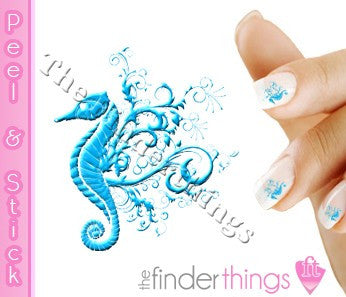 Blue Seahorse Designer Nail Art Decal Sticker Set - The FinderThings