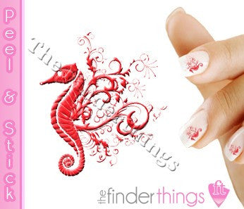 Red Seahorse Designer Nail Art Decal Sticker Set - The FinderThings