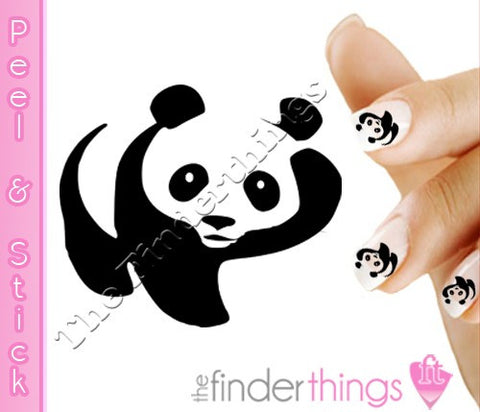 Panda Bear Waving Nail Art Decal Sticker Set