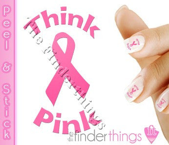 Breast Cancer Think Pink Ribbon Nail Art Decal Sticker Set - The FinderThings
