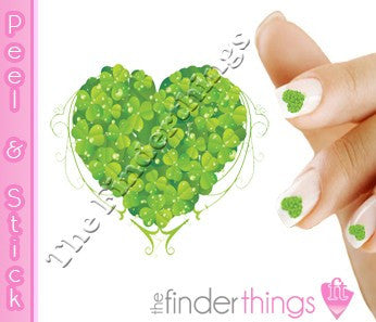 St. Patrick's Day Shamrock Heart Four Leaf Clover Nail Art Decal Sticker Set - The FinderThings
