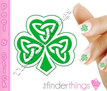 St. Patrick's Day Celtic Shamrock Four Leaf Clover Nail Art Decal Sticker Set - The FinderThings