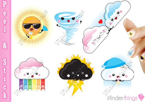 Kawaii Weather Rainbow Clouds Kute Nail Art Decal Stickers - The FinderThings