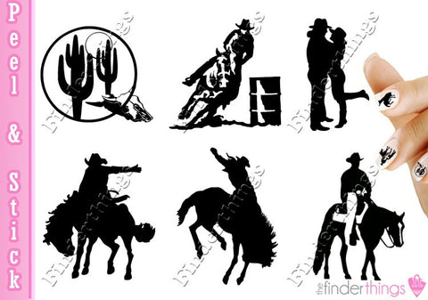 Cowboy Western Equestrian Horse Rodeo Variety Nail Art Decal Sticker Set
