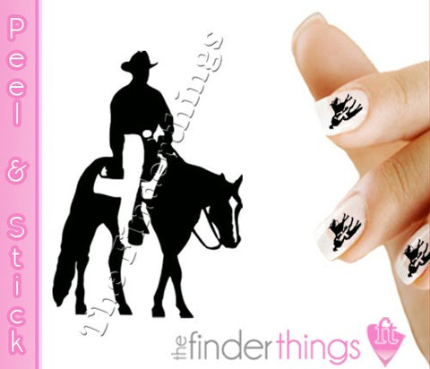 Cowboy Western Equestrian Horse Rodeo Nail Art Decal Sticker Set - The FinderThings