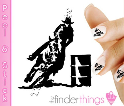 Cowboy Western Barrel Riding Rodeo Equestrian Nail Art Decal Sticker Set - The FinderThings