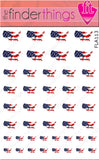United States of America USA Flag Country Nail Art Decal Sticker Set