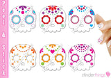 Sugar Skulls Day of the Dead Nail Art Decal Sticker Set