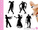 Zombie Dead Walking Nail Art Decal Sticker Set