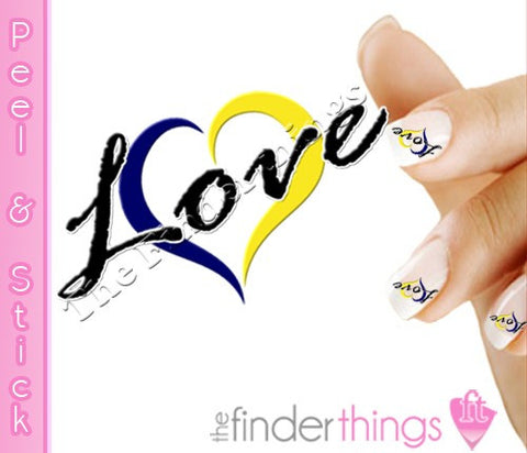 Down Syndrome Support Ribbon Love Nail Art Decal Sticker Set - The FinderThings
