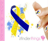 Down Syndrome Support Ribbon Splash Nail Art Decal Sticker Set