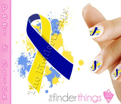 Down Syndrome Support Ribbon Splash Nail Art Decal Sticker Set - The FinderThings