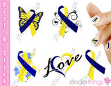 Down Syndrome Support Ribbon Variety Nail Art Decal Sticker Set