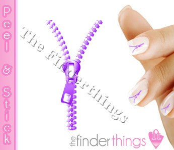 Purple Zipper Fly Nail Art Decal Sticker Set - The FinderThings