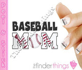 Baseball Softball Mom Mother Nail Art Decal Sticker Set