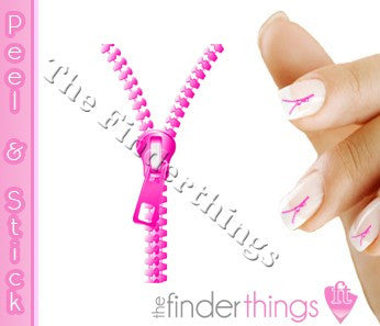 Pink Zipper Fly Nail Art Decal Sticker Set - The FinderThings