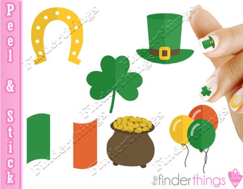St. Patrick's Day Clover Variety Nail Art Decal Sticker Set