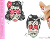 Rockabilly Sugar Skulls Rocker Nail Art Decal Sticker Set - The FinderThings
