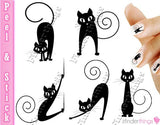 Black Cat Kitten Variety Nail Art Decal Sticker Set - The FinderThings