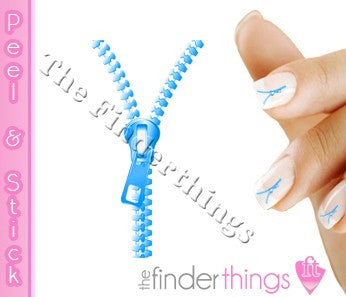 Blue Zipper Fly Nail Art Decal Sticker Set - The FinderThings