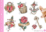 Tattoo Heart Anchor Diamond Mix Nail Art Decal Sticker Set - The FinderThings