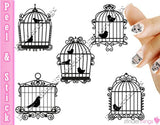 Vintage Bird Cage and BIrds Nail Art Decal Sticker Set