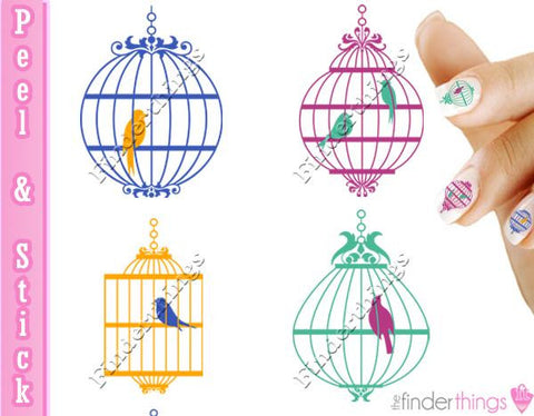 Vintage Bird Cage and Colorful Birds Nail Art Decal Sticker Set