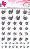 Swallow Sparrow Rose Tattoo Inspired Nail Art Decal Sticker Set - The FinderThings