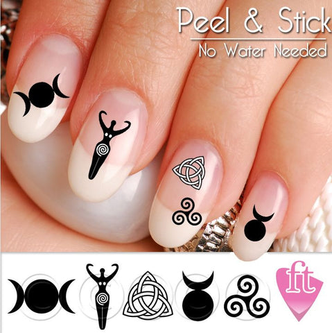 Wicca Symbol Nail Art Decal Stickers - Wiccan Nail Art Goddess Horned God Mother Mother - The FinderThings