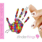 Autism Awareness Hand Print Puzzle Piece and Heart Nail Art Decal Sticker Set - The FinderThings
