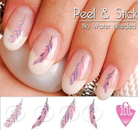 Feather Nail Art Decal Stickers - Pink Feather Variety Nail Art Decals - The FinderThings