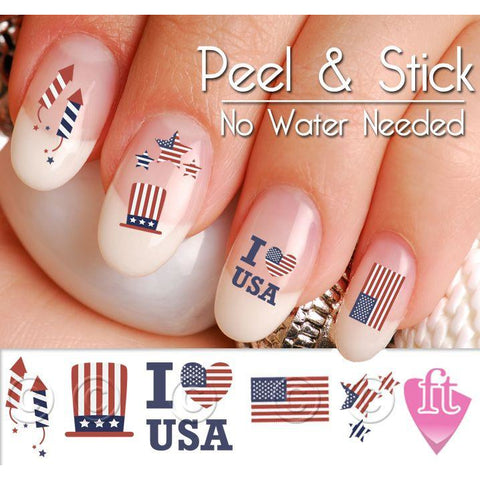 4th of July USA America Patriotic Nail Art Decal Sticker Set - The FinderThings