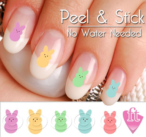 Easter Bunny Peeps Candy Nail Art Decal Sticker Set