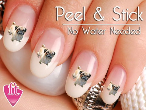 Pug Dog Puppy Nail Art Decal Sticker Set - The FinderThings