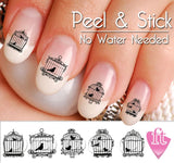 Vintage Bird Cage and BIrds Nail Art Decal Sticker Set - The FinderThings