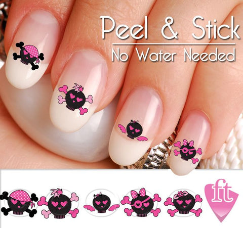 Sugar Skulls Nail Art Decal Sticker Set - Day of the Dead Nail Art - Black Skull Nail Decals