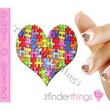 Autism Awareness Ribbon Puzzle Piece and Heart Nail Art Decal Sticker Set