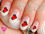 Red Rose Ink Splatter Nail Art Decal Sticker Set