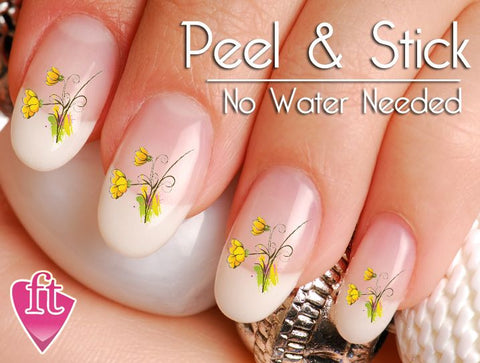 Yellow Daisy Flower Nail Art Decal Sticker Set - The FinderThings