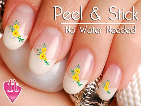 Yellow Flower Corner Nail Art Decal Sticker Set