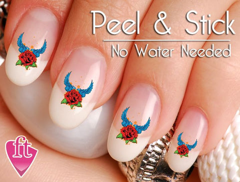 Tattoo Rose and Angel WIngs Nail Art Decal Sticker Set