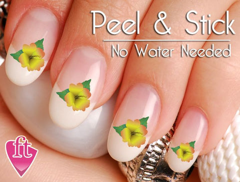 Yellow Hibiscus Flower Nail Art Decal Sticker Set