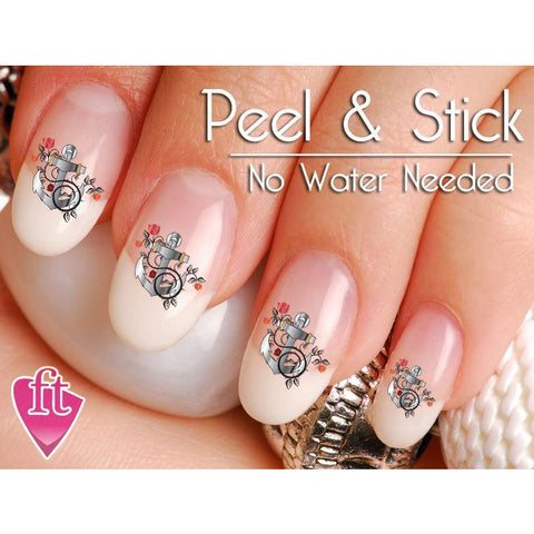 Anchor Rose and Flower Nail Art Decal Sticker Set - The FinderThings